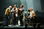 Brooklyn, NY - 28 July 2017. A crowd estimated at 9,000 filled the Prospect Park Bandshell, with an estimated 3,000 outside the fence, for a concert by Esperanza Spalding and Andrew Bird at the BRIC Celebrate Brooklyn! Festival. Andrew Bird and his band on stage.