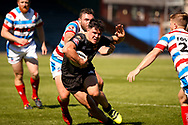 Bradford Bulls centre James Bentley (20) tries to break through during the Kingstone Press Championship match between Rochdale Hornets and Bradford Bulls at Spotland, Rochdale, England on 18 June 2017. Photo by Simon Davies.