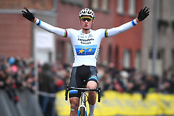 January 5, 2019 - Gullegem, BELGIUM - Dutch Mathieu Van Der Poel celebrates as he crosses the finish line to win the men elite race of the Gullegem Cyclocross, Saturday 05 January 2019 in Gullegem, Belgium. BELGA PHOTO DAVID STOCKMAN (Credit Image: © David Stockman/Belga via ZUMA Press)