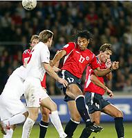 Fotball<br /> VM-kvalifisering<br /> Norge v Hviterussland<br /> Ullevaal stadion<br /> 8. september 2004<br /> Foto: Digitalsport<br /> John Carew, Norge