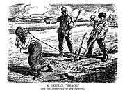 """A German """"Peace."""" (for the instruction of our pacifists.) [a German soldier whips a woman and man peasant farmers ploughing a field in Ukraine]"""
