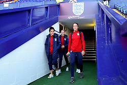 Lucy Bronze of England and team mates walk out on to the pitch before the match - Mandatory by-line: Matt McNulty/JMP - 19/09/2017 - FOOTBALL - Prenton Park - Birkenhead, United Kingdom - England v Russia - FIFA Women's World Cup Qualifier