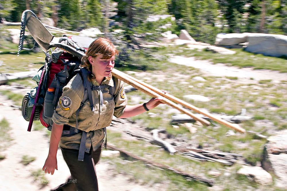 Young volunteer staff rangers ply their way along walking trails using hand tools to maintain the tracks in Yosemite National Park