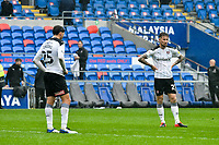 Football - 2020 / 2021 Sky Bet Championship - Cardiff City vs Rotherham United - Cardiff city Stadium<br /> <br /> Angus MacDonald Rotherham United  & Matt Crooks Rotherham United on the pitch looking dejected after the final whistle. Rotherham's draw with Cardiff will result in relegation.<br /> <br /> COLORSPORT/WINSTON BYNORTH