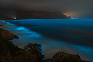 Bioluminescence in Kogel Bay near Cape Town in South Africa.