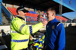 Fife Division, Roads Policing Festive launch, Central Park, Cowdenbeath, 29-11-2019<br /> <br /> Cowdenbeath player Kyle Sneddon gets a drug swipe from PC Seb Milne<br /> <br /> (c) David Wardle   Edinburgh Elite media