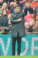Wolverhampton Wanderers manager Nuno Espírito Santo  instructs his team during the The FA Cup semi-final match between Watford and Wolverhampton Wanderers at Wembley Stadium, London, England on 7 April 2019.