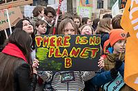"""22 MAR 2019, BERLIN/GERMANY:<br /> Kinder, Schueler und Jugendliche demonstrieren bei einer Demo """"Fridays for Future"""" fuer mehr Klimaschutz, Invalidenpark<br /> IMAGE: 20190322-01-073<br /> KEYWORDS: Demonstration, Protest, portester, Youth, Clima, climate change, Demonstranten, Klimarettung, Demo, Schulstreik, Streik, Schüler, Klimawandel."""