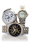 Still life image of hree watches photographed together for a jewelry company in South Florida.