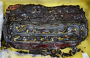 BEIJING, May 5, 2016 <br /> <br /> shows a lacquer box unearthed from the 2,000-year-old tomb of Haihunhou, the Marquis of Haihun, in Nanchang, east China's Jiangxi Province. Archaeological excavations of the interior coffin of Haihunhou has entered later cleaning up phase. More than 10,000 cultural relics have been unearthed from the tomb since 2011. The tomb, which dates back to the Western Han Dynasty, is the best-preserved tomb of that period ever found in China.<br /> ©Exclusivepix Media