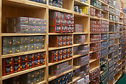 Ammunition for sale at a gun shop in Burlington, near to Minot, North Dakota, United States. Many types of weapons are for sale here from basic shotguns and handguns to military type semi-automatic weapons. Guns and ammunition from this store are used by hunters and for protection.
