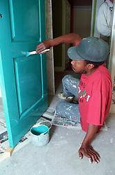 Young man painting door,