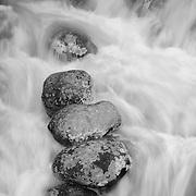 Rocks And Waterfall - Yellowstone National Park - Black & White