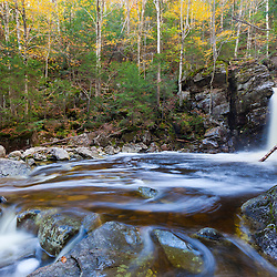 Kinsman Falls and Cascade Brook in New Hampshire's White Mountains. Franconia Notch State Park.