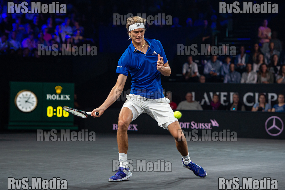 GENEVA, SWITZERLAND - SEPTEMBER 21: Alfo$exander Zverev of Team Europe $ during Day 2 of the Laver Cup 2019 at Palexpo on September 21, 2019 in Geneva, Switzerland. The Laver Cup will see six players from the rest of the World competing against their counterparts from Europe. Team World is captained by John McEnroe and Team Europe is captained by Bjorn Borg. The tournament runs from September 20-22. (Photo by Monika Majer/RvS.Media)