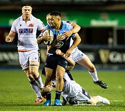 Willis Halaholo of Cardiff Blues under pressure from George Taylor of Edinburgh Rugby<br /> <br /> Photographer Simon King/Replay Images<br /> <br /> Guinness PRO14 Round 2 - Cardiff Blues v Edinburgh - Saturday 5th October 2019 -Cardiff Arms Park - Cardiff<br /> <br /> World Copyright © Replay Images . All rights reserved. info@replayimages.co.uk - http://replayimages.co.uk