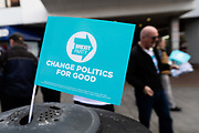 A Brexit Party flag for the upcoming European elections is seen in a rubbish bin on the street in Dagenham Heathway, London, England on May 04, 2019.  Britain must hold European elections on May 23 or leave the European Union with no deal on June 01 after Brexit was delayed until  October 31 2019 after Prime Minister, Theresa May failed to get her Brexit deal approved by Parliament.