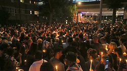 London,UK Friday 16th June 2017 Grenfell Thousand of People come to pay tribute and light candles for those lost is the tower block fire Candle light vigil for the victims of the Grenfell Tower fire disaster©UKNIP