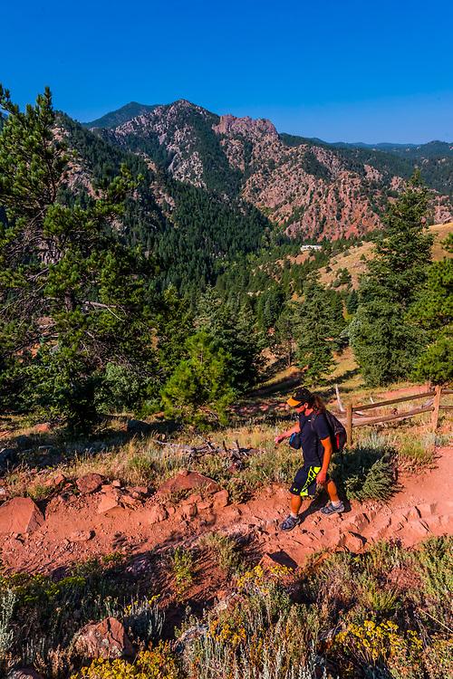 Eldorado Canyon Trail, Eldorado Canyon State Park, Eldorado Springs, near Boulder, Colorado USA. Eldorado Canyon is a world famous trad rock climbing area.