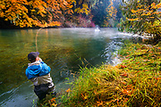 David Page fights rainbow trout. Vancouver Island, BC