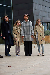 Queen Letizia of Spain, King Felipe of Spain, Crown Princess Leonor, Princess Sofia, Queen Sofia of Spain visited King Juan Carlos of Spain after his knee surgery at La Moraleja Hospital on April 8, 2018 in Madrid, Spain. 08 Apr 2018 Pictured: Queen Letizia of Spain, Crown Princess Leonor, Princess Sofia, Queen Sofia of Spain. Photo credit: MEGA TheMegaAgency.com +1 888 505 6342