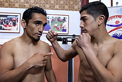 October 4, 2018 - Osorno, Chile - Osorno, Chile. 4 October 2018. Ceremony of weighing for the professional combat for the Gallo category between Claudio ''Azteca'' Laviñanza and Guillermo ''Terrible'' Tejeda. Laviñanza (20) will make his second professional fight against the experienced Tejeda (39) at the Prat-Lautaro gym in Osorno, Chile. (Credit Image: © Fernando Lavoz/NurPhoto/ZUMA Press)