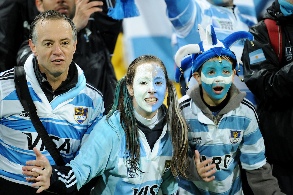 Argentina supporters during the Pool B, Argentina v Scotland match at the IRB Rugby World Cup 2011. Wellington Regional Stadium, Wellington. Sunday 25 September 2011...Photo: Mark Tantrum/photosport.co.nz..