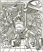The Personification of Music from Gregor Reisch 'Margarita Philosophica', Strassbourg, 1508.  In left  foreground man plays a portable organ, above him is a man playing a clarsach or Celtic harp, above him a lute like instrument is being played. Top left a boy plays the pipe.