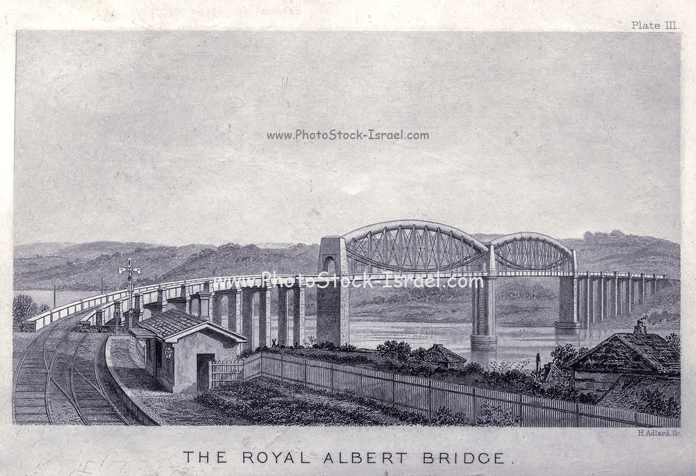 """The Royal Albert Bridge is a railway bridge which spans the River Tamar in England between Plymouth, Devon and Saltash, Cornwall. from the book The life of Isambard Kingdom Brunel, civil engineer. By Isambard Brunel Published in London by Longmans, Green in 1870. Isambard Kingdom Brunel FRS MInstCE (9 April 1806 – 15 September 1859) was an English civil engineer who is considered """"one of the most ingenious and prolific figures in engineering history,"""" """"one of the 19th-century engineering giants,""""and """"one of the greatest figures of the Industrial Revolution, [who] changed the face of the English landscape with his groundbreaking designs and ingenious constructions."""" Brunel built dockyards, the Great Western Railway (GWR), a series of steamships including the first propeller-driven transatlantic steamship, and numerous important bridges and tunnels. His designs revolutionised public transport and modern engineering."""