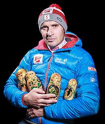 28.10.2013, Hotel Diana, Seefeld, AUT, OESV, Fototermin, Nordische Kombinierer, Team Sotschi, im Bild Cheftrainer Christoph Eugen (AUT) mit Babuschka // Headcoach Christoph Eugen of Austria with Babuschka during the Photoshooting of the Austrian Nordic Combined Team Sotschi at the Hotel Diana, Seefeld, Austria on 2013/10/28. EXPA Pictures © 2014, PhotoCredit: EXPA/ JFK ***** EXKLUSIVES BILDMATERIAL *****