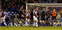 Photo. Jed Wee.<br /> Burnley v Reading, Nationwide League Division One, Turf Moor, Burnley. 25/11/03.<br /> Burnley's Robbie Blake (L), who scored the first goal, takes a freekick which deflects off Luke Chadwick for Burnley's third goal.