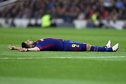 March 14, 2018 - Barcelona, Spain - LUIS SUAREZ of FC Barcelona reacts after being tackled during the UEFA Champions League, round of 16, 2nd leg football match between FC Barcelona and Chelsea FC on March 14, 2018 at Camp Nou stadium in Barcelona, Spain (Credit Image: © Manuel Blondeau via ZUMA Wire)