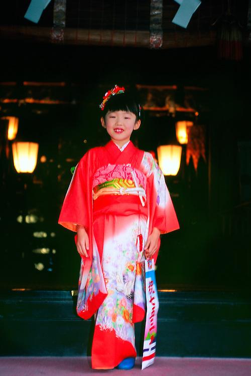 Japanese girl wearing kimono, Tosho-gu Shrine, Nikko, Japan