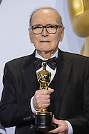 88th Academy Awards press room.<br /> Famed Italian composer Ennio Morricone just won the Oscar for Best Original Score for his work on Quentin Tarantino's The Hateful Eight.