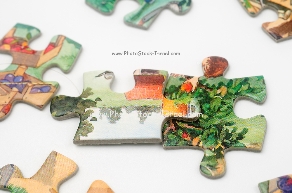 Cutout of Jigsaw Puzzle pieces on white background