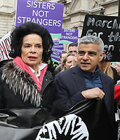 Bianca Jagger and Sadiq Khan at March4Women 2020 rally at Southbank Centre on March 08, 2020 in London, England. The event is to mark International Women's Day photo by Roger Alarcon