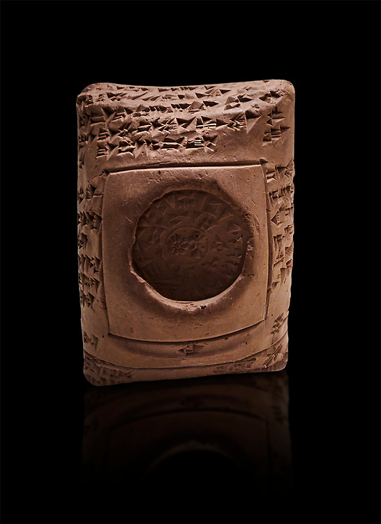 """Toprak Bagis Belgesi  cuneiform donation document of winter  pasture to the shepherds of Uhhiva city. Hittite Period 1600 - 1450 BC.  Hattusa Boğazkale. Çorum Archaeological Museum, Corum, Turkey.. Against a black bacground.<br /> <br /> The document reads """"The Big King donates the summery and winter pastures with shepherds of Uhhiva city to his servant Hassuli, head of the guardians. No one shall have the right to claim against Hassuli or his grandchildren in the future. The Big King's word is made of iron, which can never be changed or broken. Whoever changes his word shall be beheaded. This tablet was written by Hanukkuli, Sarpa, head of Hittite palace guardians before Iskanussu, commander-in-chief."""" .<br />  <br /> If you prefer to buy from our ALAMY STOCK LIBRARY page at https://www.alamy.com/portfolio/paul-williams-funkystock/hittite-art-antiquities.html  - Type Cuneiform  into the LOWER SEARCH WITHIN GALLERY box. Refine search by adding background colour, place,etc<br /> <br /> Visit our HITTITE PHOTO COLLECTIONS for more photos to download or buy as wall art prints https://funkystock.photoshelter.com/gallery-collection/The-Hittites-Art-Artefacts-Antiquities-Historic-Sites-Pictures-Images-of/C0000NUBSMhSc3Oo"""