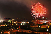 Fireworks over Moscow, Russia. Red Square is on the far left.