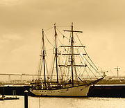 Digitally enhanced image of a three masted tall ship moored at Figueira da Foz, Portugal