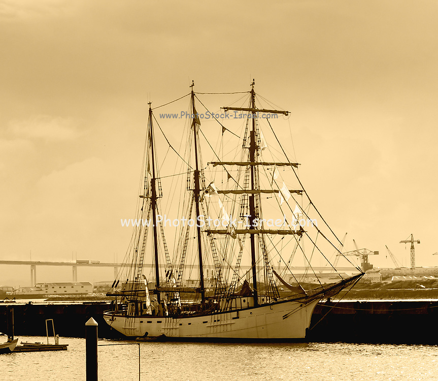 Digitally enhanced image of a three masted tall ship moored at Figueira da Foz, Portugal