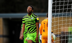 Ebou Adams of Forest Green Rovers cuts a dejected figure after missing a chance to score a goal- Mandatory by-line: Nizaam Jones/JMP - 16/01/2021 - FOOTBALL - innocent New Lawn Stadium - Nailsworth, England - Forest Green Rovers v Port Vale - Sky Bet League Two