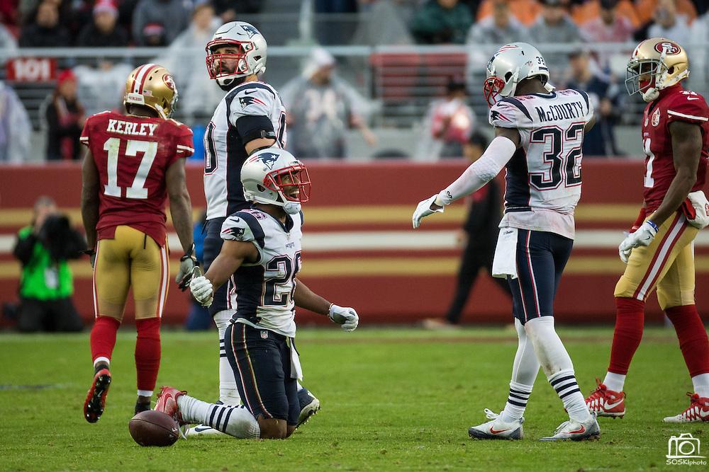 New England Patriots cornerback Logan Ryan (26) celebrates a near interception against the San Francisco 49ers at Levi's Stadium in Santa Clara, Calif., on November 20, 2016. (Stan Olszewski/Special to S.F. Examiner)