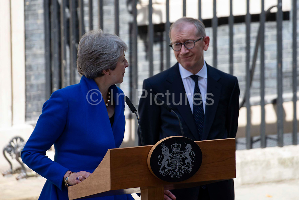 Prime Minister Theresa May thanks her husband Philip May during her outgoing statement  at Downing Street on 24th July, 2019 in London, United Kingdom. Today she makes her final statement as Prime Minister of Great Britain and Northern Ireland before formally tendering her resignation at Buckingham Palace. Boris Johnson takes charge at 10 Downing Street later today.