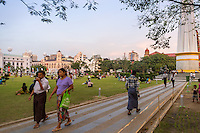 YANGON, MYANMAR - CIRCA DECEMBER 2013: People walking in the Maha Bandoola Garden in Yangon.