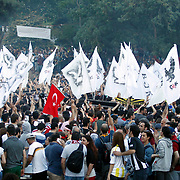 Turkish Superleague soccer teams Besiktas, Fenerbahce and Galatasaray supporters, met today in Taksim Square. A harsh police crackdown on a small campaign to save an Istanbul park on May 31 triggered nationwide protests against Erdogan. Photo by AYKUT AKICI/TURKPIX