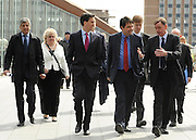© Licensed to London News Pictures. 16/04/2012. London, UK. Left to right: ED MILIBAND MP ,  STEPHEN TWIGG (C red tie), SIR ROBIN WALES, STEPHEN TWIGG MP (rear) and STEPHEN TIMMS MP (rear R). Ed Miliband MP, Leader of the Labour Party UK, visits The Skills Place in Westfield Stratford today, 16th April 2012, on a visit to highlight youth unemployment issues. Photo credit : Stephen Simpson/LNP