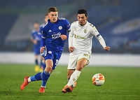 Football - 2020 / 2021 Europa League - Group G - Leicester City vs Sporting Braga - King Power Stadium<br /> <br /> Sporting Braga's Andre Castro holds off the challenge from Leicester City's Harvey Barnes.<br /> <br /> COLORSPORT/ASHLEY WESTERN