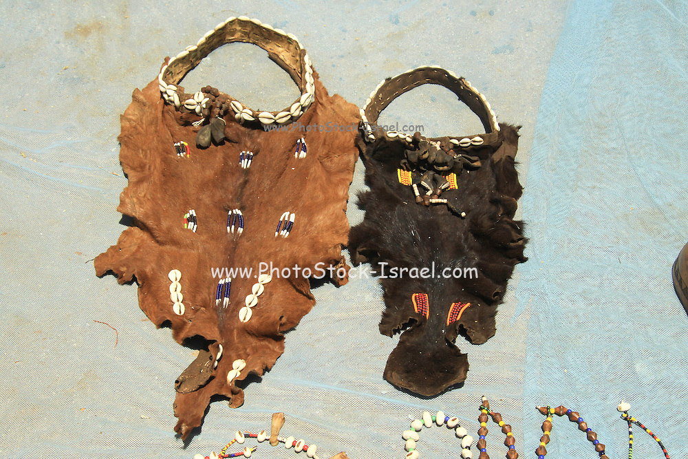 Africa, Ethiopia, Omo River Valley Hamer Tribe handicrafted leather and shell decoration