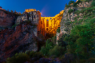 Stone bridge above El Tajo gorge in Ronda