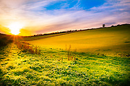 Rural scene in West Sussex, England, UK with setting sun over fields in the winter.